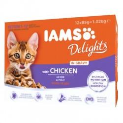 IAMS Delights Kitten in Gravy with chicken 12x85g